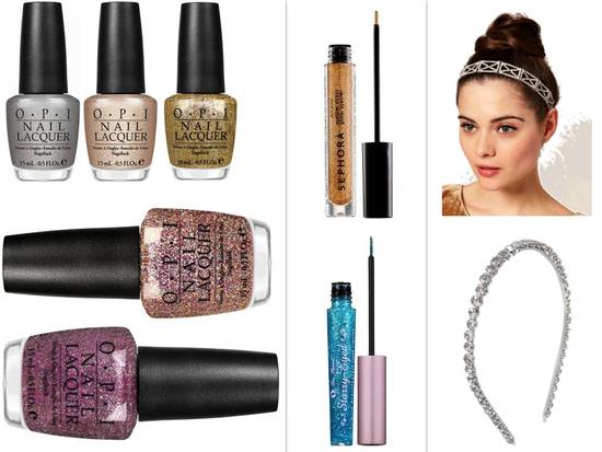Sparkle and shine with glittery nail polish, eye liner, or an embellished headband