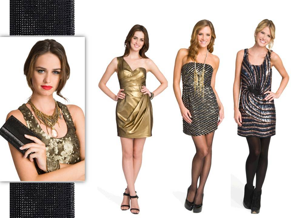 Metallic gold and sequin-adorned designer dresses for the holidays
