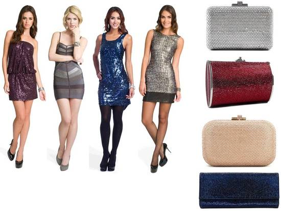 Sequin midnight blue and eggplant purple designer dresses, and gorgeous Judith Leiber handbags