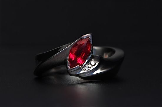 Platinum and ruby wedding ring
