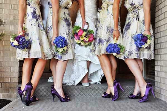 Purple floral bridesmaids dresses