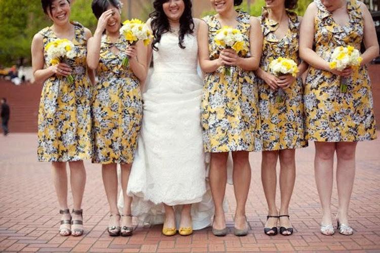 Yellow Printed Bridesmaid Dresses