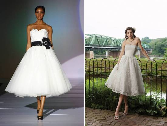 2011 tea-length tulle wedding dresses with lace touches