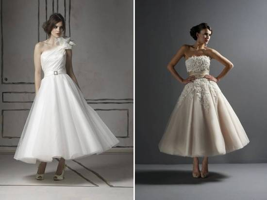 Sophisticated, retro-inspired tea length 2011 wedding dresses