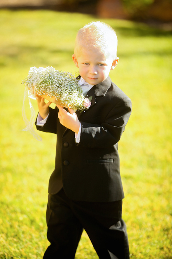 Cute ring bearer with baby s breath ring pillow