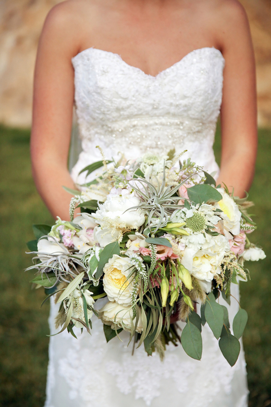 Gorgeous bride s bouquet with greens and whites