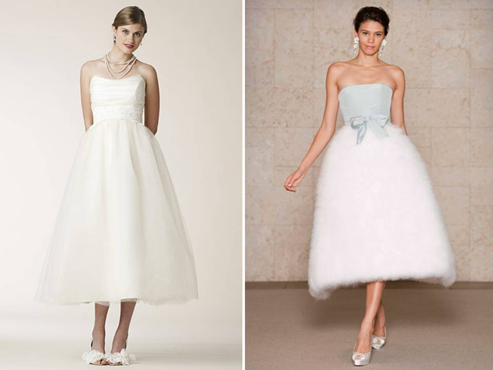 Sophisticated Retro Inspired Tea Length 2011 Wedding Dresses