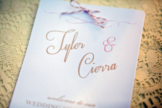 Simple wedding programs in pink