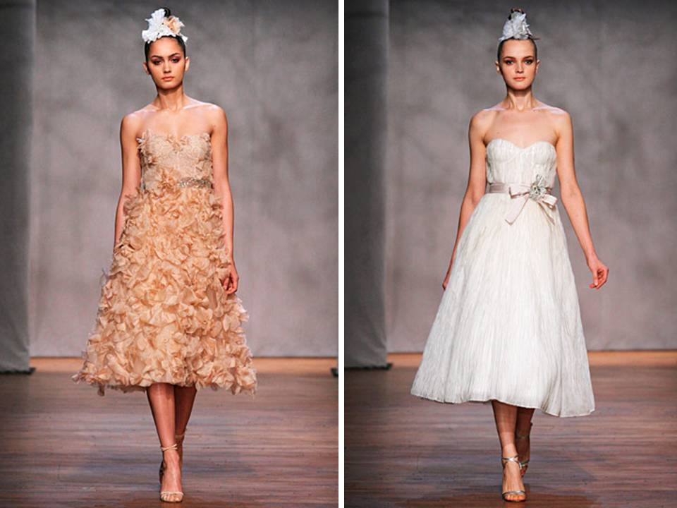 Tea-length wedding dresses by Monique Lhuillier- embellished nude and white tulle