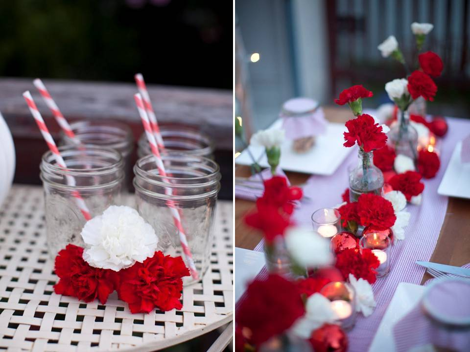 Holiday-wedding-tablescape-diy-centerpiece-red-white-carnations-glass-mason-jars-candy-cane-straws.full