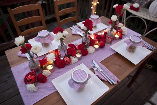 photo of Holiday Wedding Tablescape with Red and White Carnations