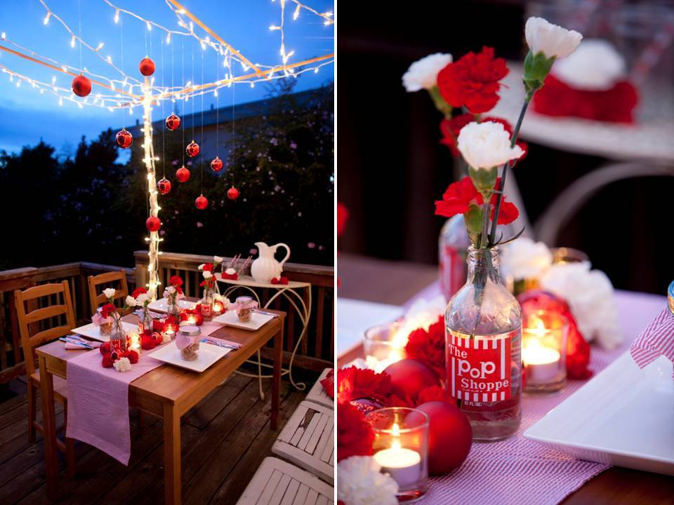Holiday-wedding-tablescape-diy-centerpiece-red-white-carnations-glass-jar-ornaments-romantic-white-lights-tea-lights.full