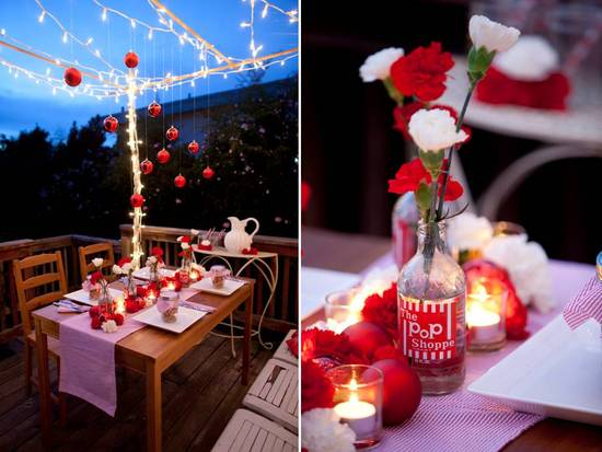 Festive and chic, this red and white winter wedding tablescape is fab!