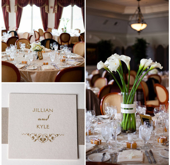 Romantic traditional New Jersey wedding- chic ivory and champagne wedding invitations
