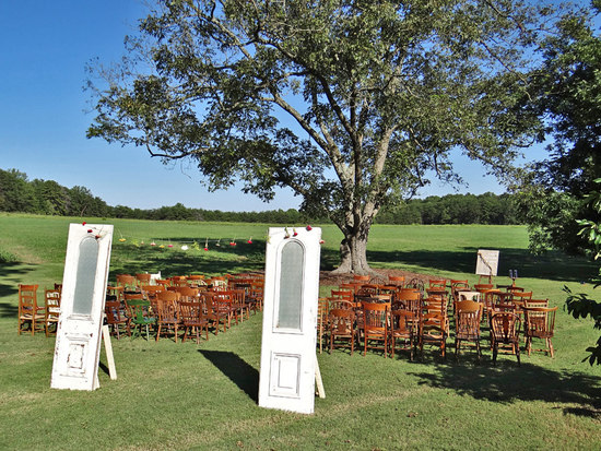 Ceremony decor with doors