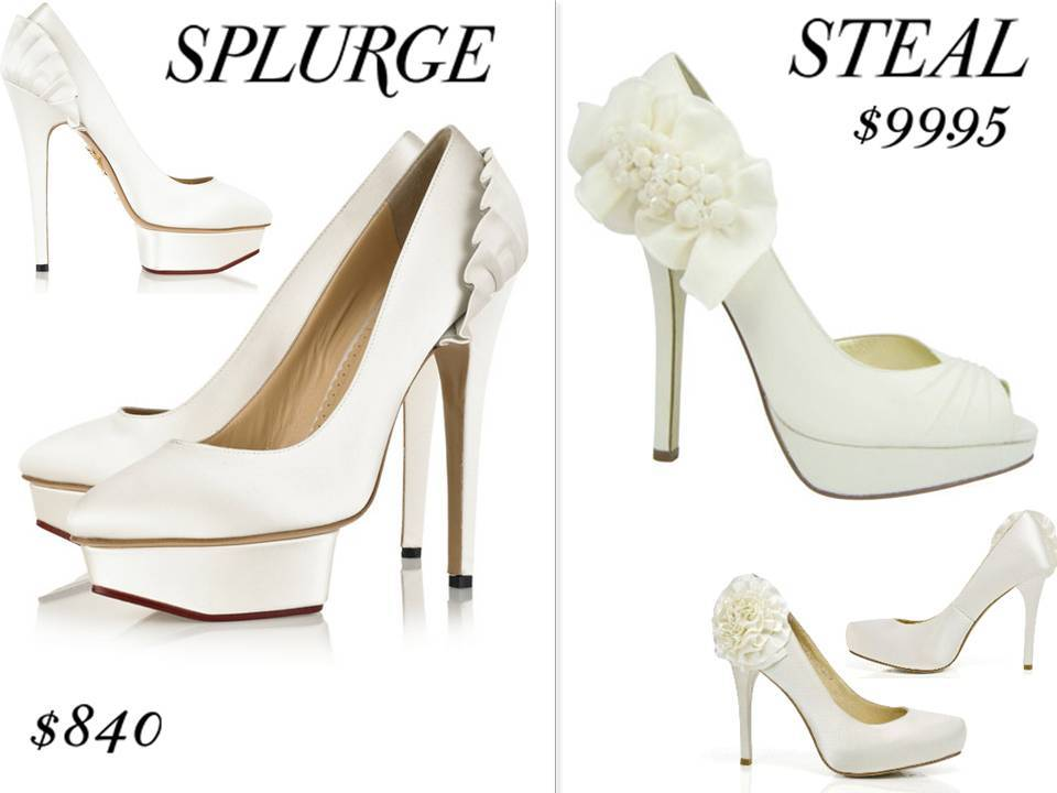 Splurge vs. Steal chic bridal style- sky high platform bridal shoes with ruffle detail