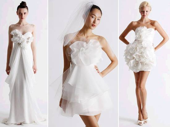Romantic, flirty white wedding dresses and reception dresses by Marchesa