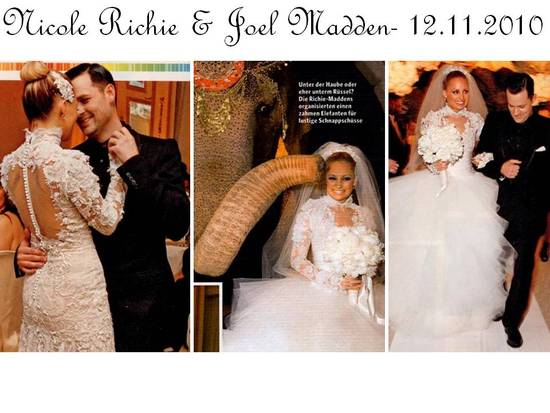 photo of Nicole Richie Weds Joel Madden- Wears THREE Marchesa Wedding Dresses!