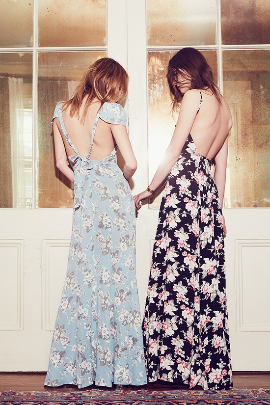 Floor length bridesmaids dresses from Reformation