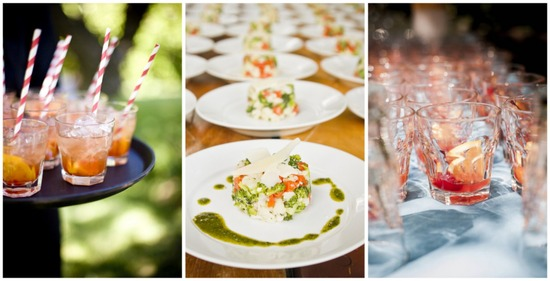 Colorful summer reception food