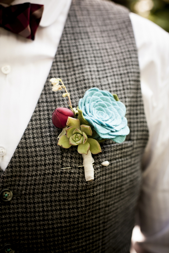 Fabric groom s boutonniere