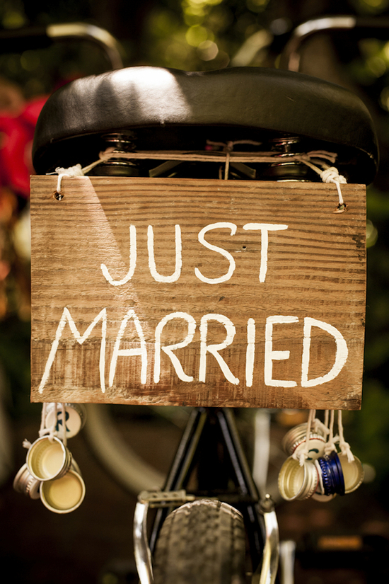 Just Married sign for a bike getaway
