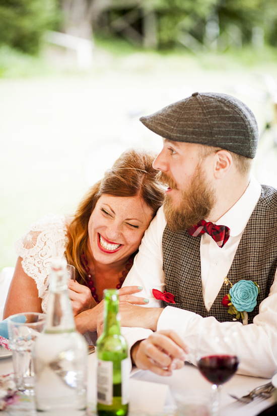 Laughing couple at reception
