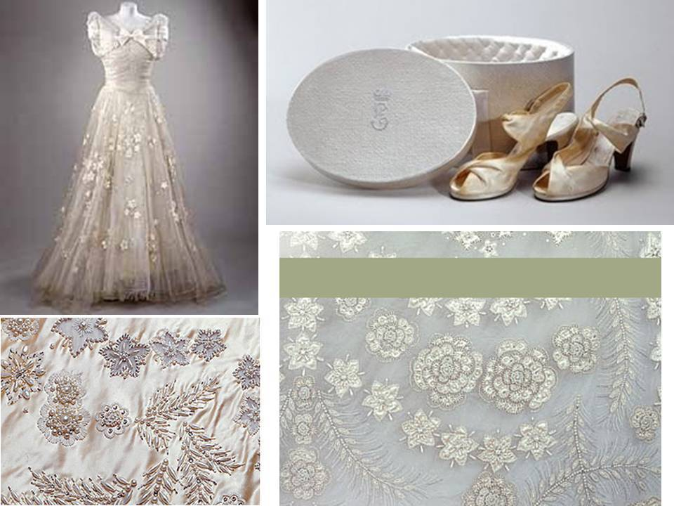 Queen Elizabeth\'s royal wedding dress with intricate beading; peep ...