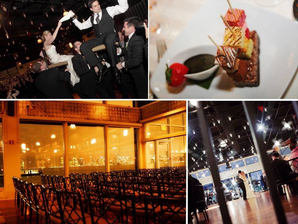 Chic downtown New York wedding reception on Chelsea Piers