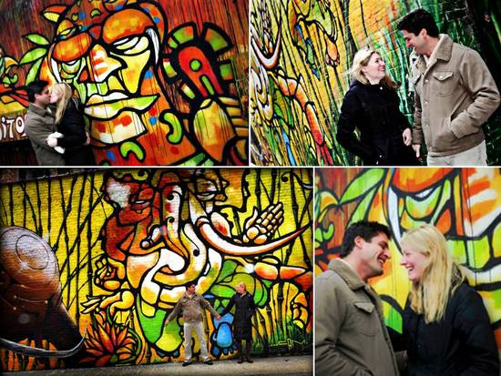 Artistic, colorful engagement photos of New York bride and groom