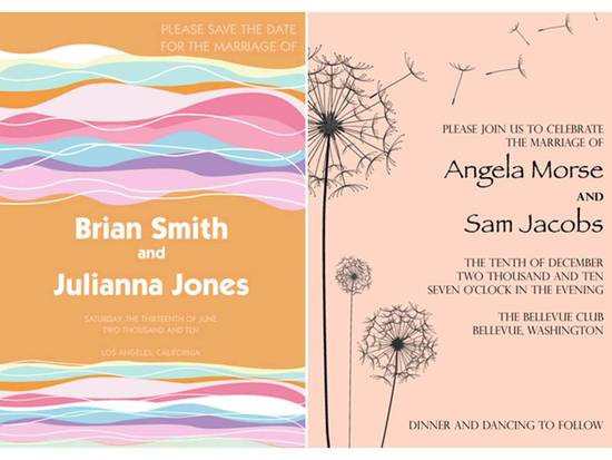 Colorful paperless wedding invitations