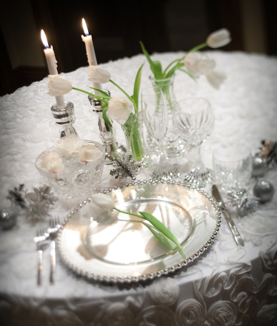 Stunning winter wonderland wedding reception tablescape