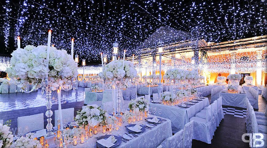 Winter wonderland wedding with lots of candlelight and high ...