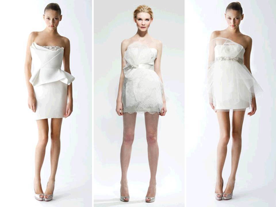 Mini white wedding reception dresses by marchesa for White dress for wedding reception