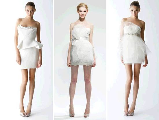Mini white wedding reception dresses by Marchesa