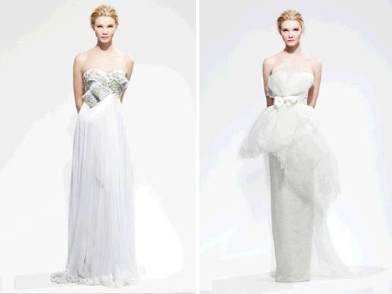 Fall 2010 column wedding dresses by Marchesa