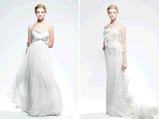 Stunning weightless a-line Marchesa wedding dress with jeweled bodice