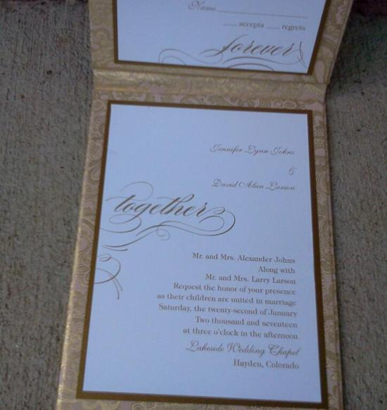 pink and gold folded invitation