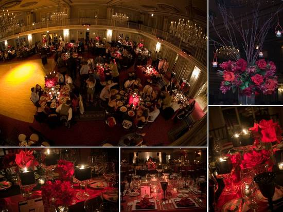 photo of Deep red wedding color palette with lots of romantic candlelight