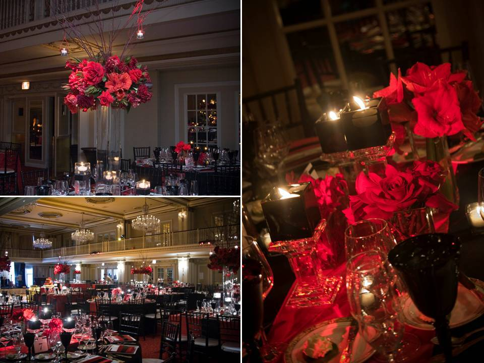 High crimson red reception table centerpieces and topiaries