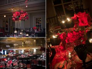 photo of High crimson red reception table centerpieces and topiaries