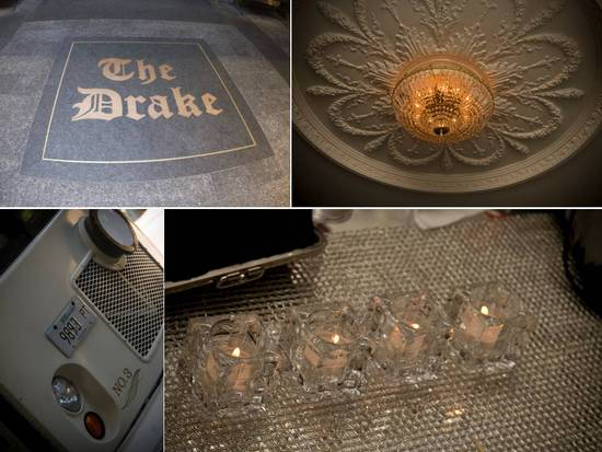 Wedding detail shots- wedding venue sign, chandeliers and candlelight