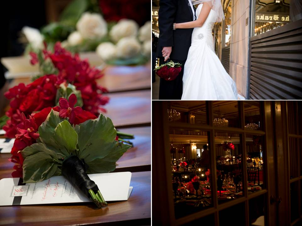 Romantic summer wedding downtown chicago red wedding flowers bouquets