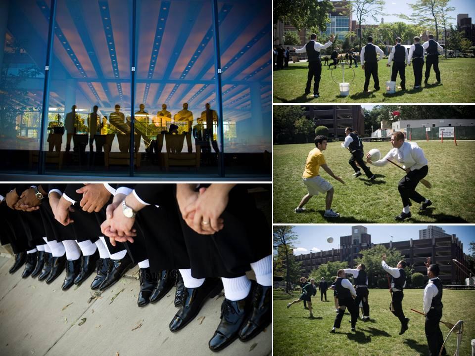 Summertime-wedding-in-chicago-groomsmen-wear-black-tuxedos-white-socks-play-outside.full