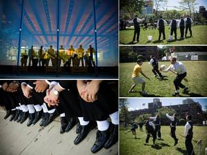 photo of Chicago groomsmen have some fun playing sports before the wedding ceremony