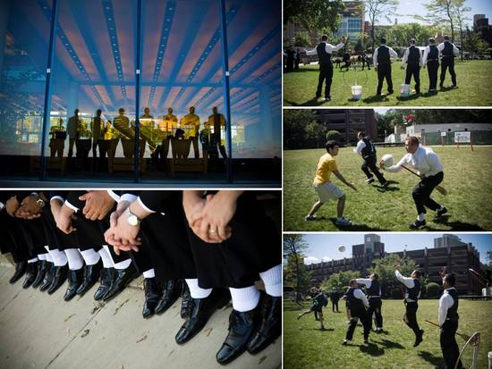 Chicago groomsmen have some fun playing sports before the wedding ceremony