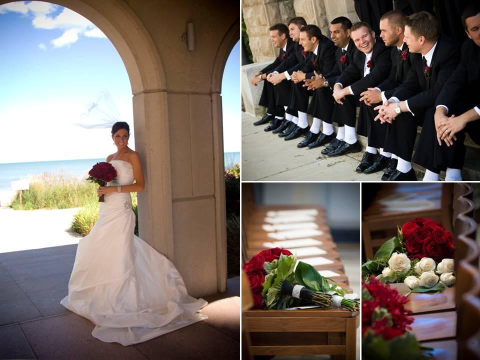 Chicago-bride-white-wedding-dress-red-bridal-bouquet-groomsmen-in-tuxedos.full