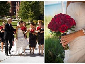 photo of Chicago bride wears white strapless wedding dress, holds red rose bridal bouquet