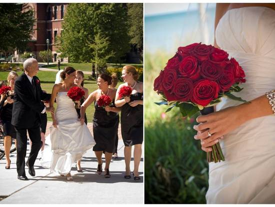 Chicago bride wears white strapless wedding dress, holds red rose bridal bouquet