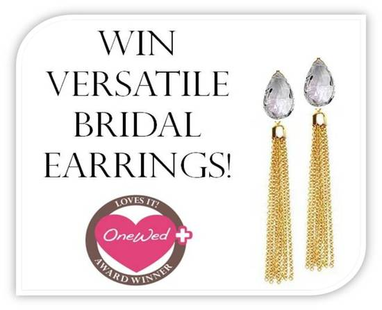 Score white topaz and gold chain bridal earrings!  Just comment on any blog post to win